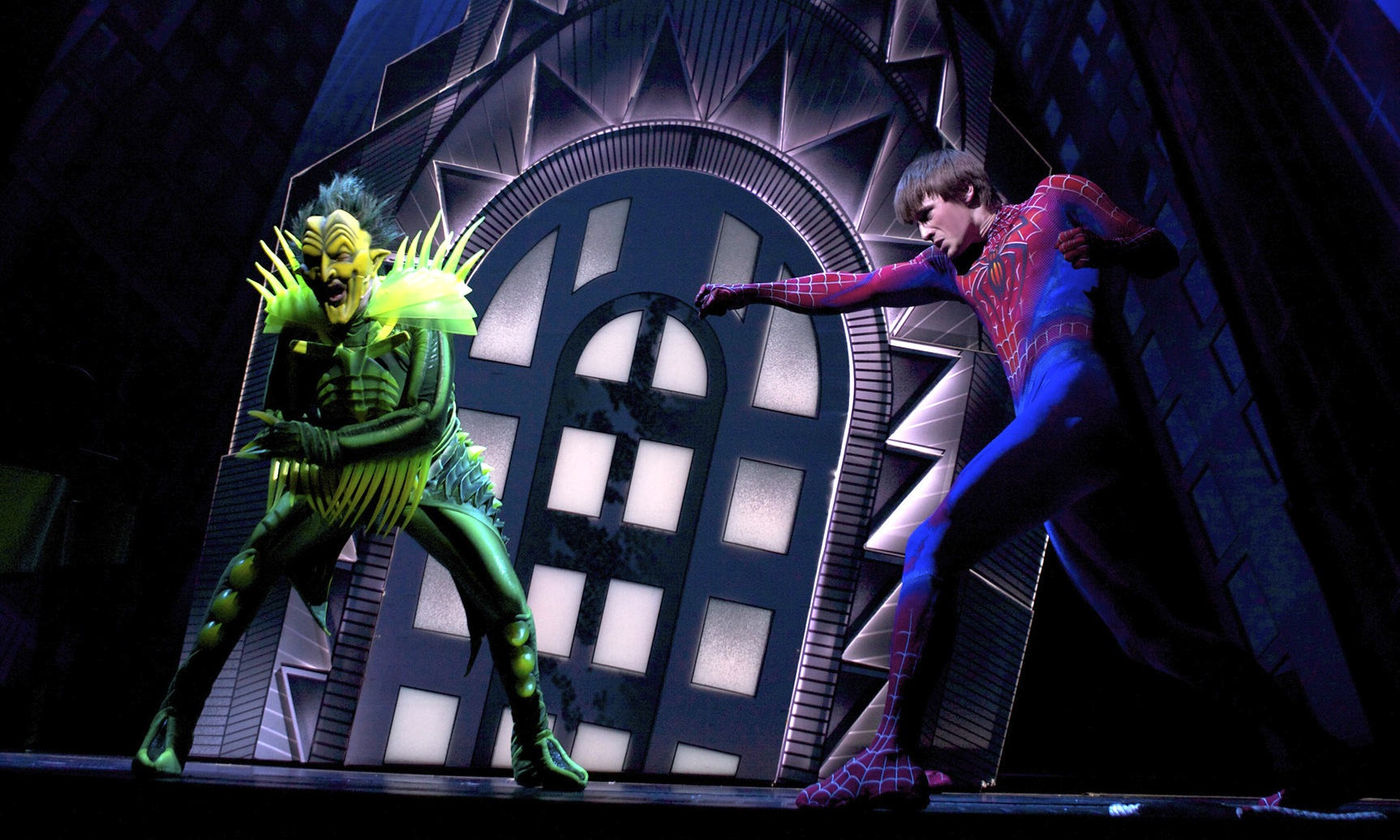 spiderman spider man broadway musical peter parker green goblin reeve carney patrick page julie taymor bono edge u2
